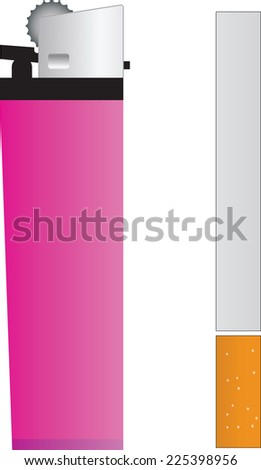 illustration with lighter and cigarette isolated on white - stock vector