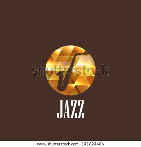 illustration with saxophone icon - stock vector