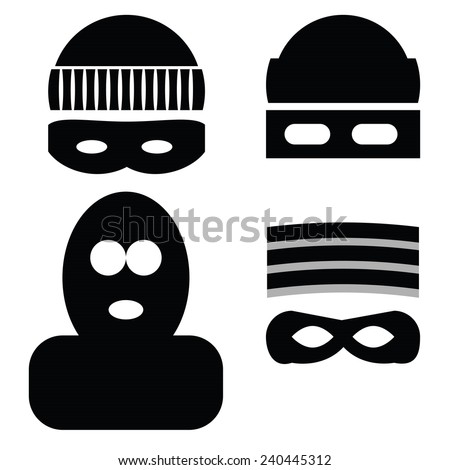illustration  with thief icons on white background - stock vector