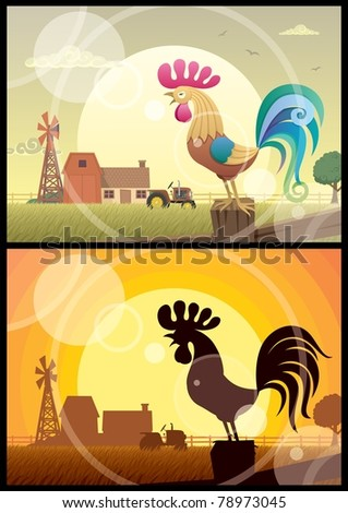 2 illustrations of crowing roosters on farm backgrounds. - stock vector
