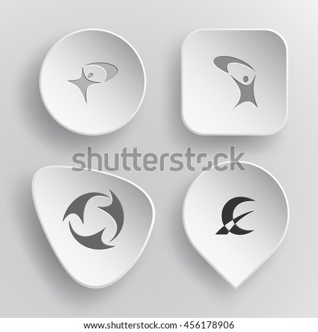 4 images: abstract little man, recycle symbol, monetary sign. Abstract set. White concave buttons on gray background. Vector icons. - stock vector