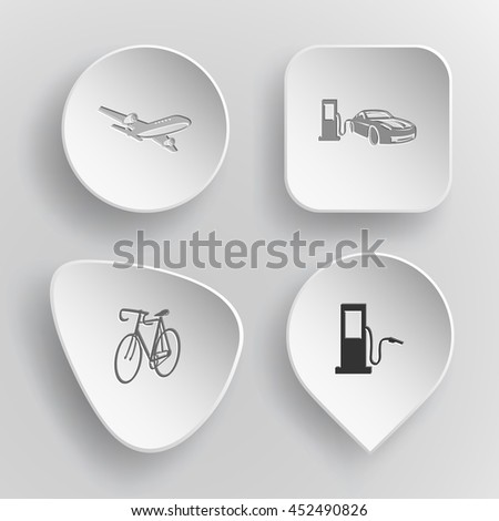 4 images: airliner, car fueling, bicycle, fueling station. Transport set. White concave buttons on gray background. Vector icons. - stock vector