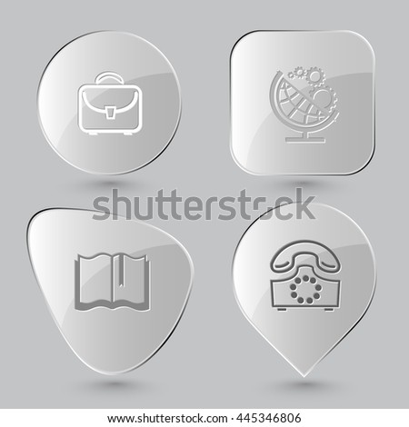 4 images: briefcase, globe and gears, book, rotary phone. Business set. Glass buttons on gray background. Vector icons.