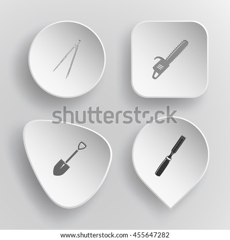 4 images: caliper, gasoline-powered saw, spade, chisel. Angularly set. White concave buttons on gray background. Vector icons. - stock vector