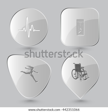 4 images: cardiogram, glass with tablets, jumping girl, invalid chair. Medical set. Glass buttons on gray background. Vector icons. - stock vector