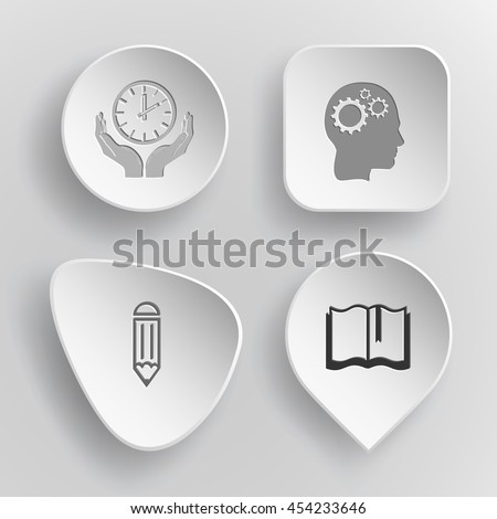 4 images: clock in hands, human brain, pencil, book. Education set. White concave buttons on gray background. Vector icons. - stock vector