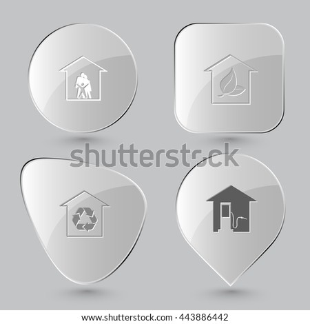 4 images: family, hothouse, protection of nature, car fueling. Home set. Glass buttons on gray background. Vector icons.