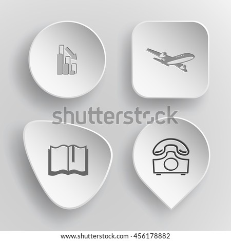 4 images: graph degress, airliner, book, rotary phone. Business set. White concave buttons on gray background. Vector icons. - stock vector