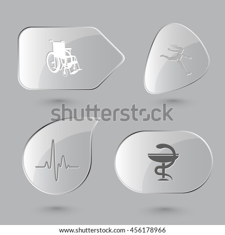 4 images: invalid chair, jumping girl, cardiogram, pharma symbol. Medical set. Glass buttons on gray background. Vector icons. - stock vector