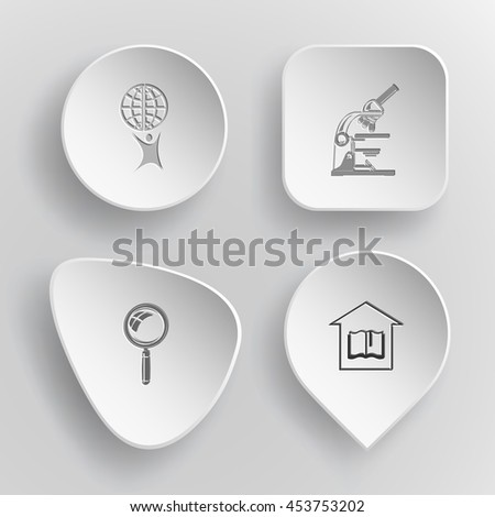 4 images: little man with globe, lab microscope, magnifying glass, library. Science set. White concave buttons on gray background. Vector icons. - stock vector