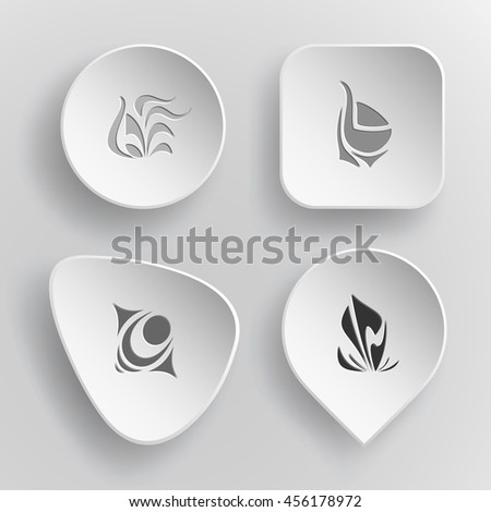 4 images of unique abstract forms. White concave buttons on gray background. Vector icons set. - stock vector