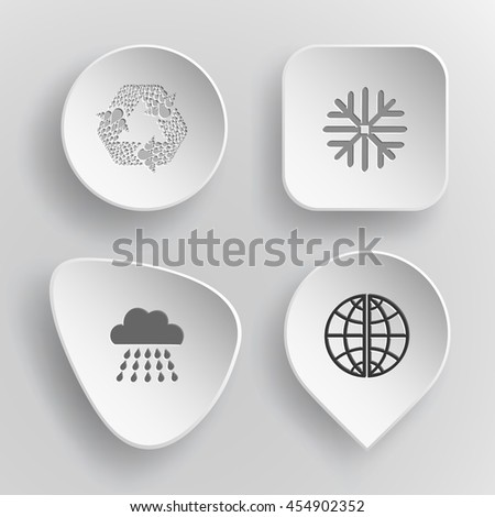 4 images: recycle symbol, snowflake, rain, globe. Weather set. White concave buttons on gray background. Vector icons. - stock vector