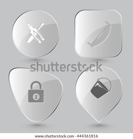 4 images: screwdriver and combination pliers, two-handled saw, closed lock, bucket. Industrial tools set. Glass buttons on gray background. Vector icons. - stock vector