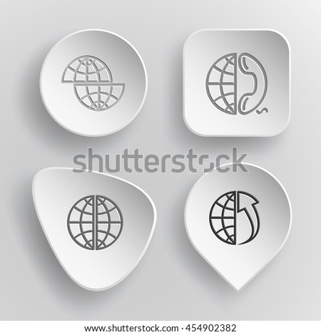 4 images: shift globe, and phone, and array up. Globe set. White concave buttons on gray background. Vector icons. - stock vector