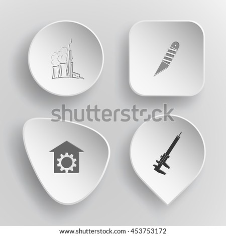 4 images: thermal power engineering, knife, repair shop, caliper. Industrial tools set. White concave buttons on gray background. Vector icons. - stock vector