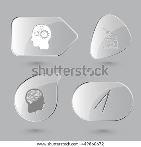 4 images: two human brains, lab microscope, caliper. Education set. Glass buttons on gray background. Vector icons. - stock vector