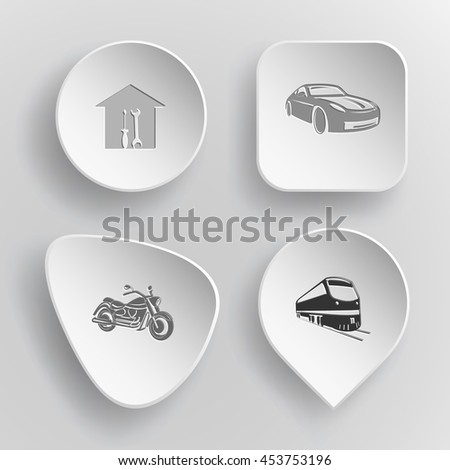4 images: workshop, car, motorcycle, train. Transport set. White concave buttons on gray background. Vector icons. - stock vector