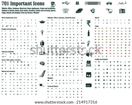 701 Important signs & Icons for Website, Office, Business, Electrical, Home Appliances, People, profession, Vehicles, Home, Real estate, Furniture, Money, Sports, Flags, Health, Food, Nature, Weather - stock vector
