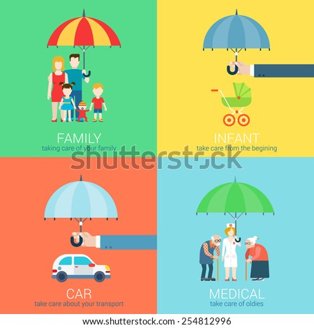 4-in-1 take care business modern flat set of concept vector illustration icons. Family life, baby infant children, car vehicle transport, health medical oldies senility caring policy. - stock vector