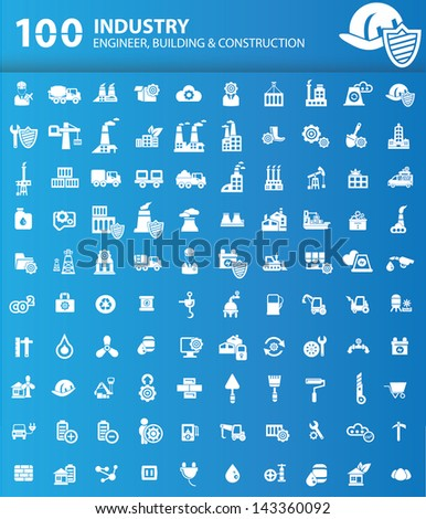 100 Industrial,Building and construction icons,version Blue background,vector - stock vector