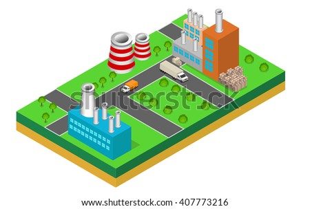 industrial buildings factories and boilers in perspective, isometric  - stock vector