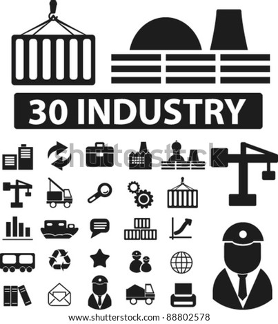 30 industry icons set, signs, vector - stock vector