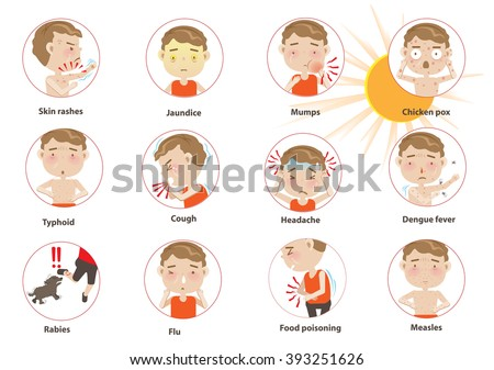 Info graphics Disease Summer cartoon circle. Vector illustration. - stock vector