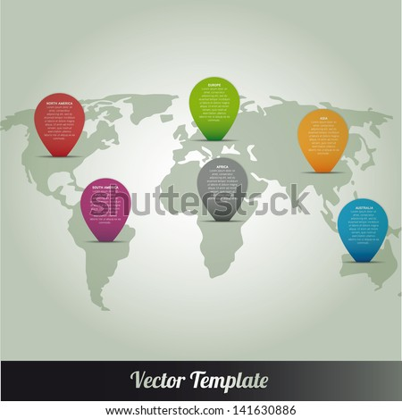 Information Continent Global World Map - stock vector