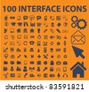 100 interface icons, signs, vector illustrations - stock vector