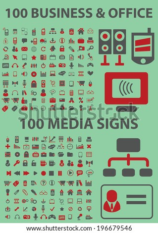 200 internet business, office, media icons, signs set, vector - stock vector