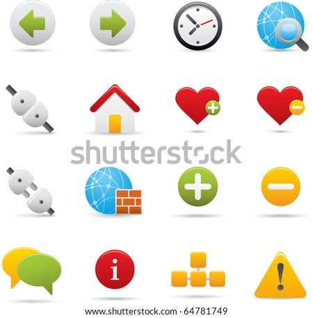 05 Internet Icons Professional vector set for your website, application, or presentation. The graphics can easily be edited color individually and be scaled to any size - stock vector