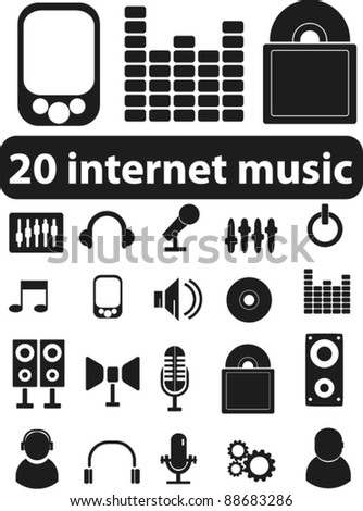 20 internet music icons set, signs, vector - stock vector