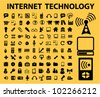 100 internet technology icons set, vector - stock photo