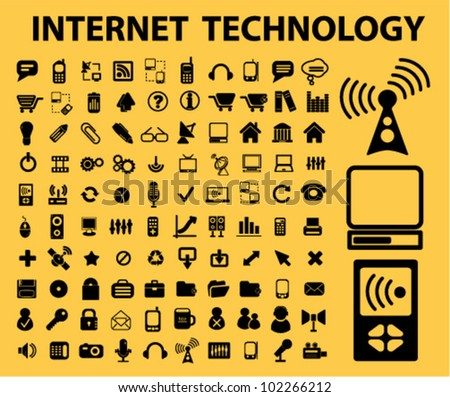 100 internet technology icons set, vector - stock vector