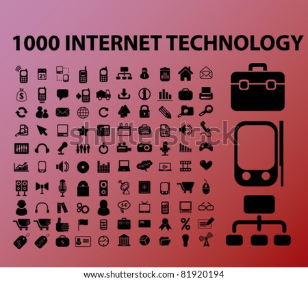 100 internet & technology icons, signs, vector illustrations - stock vector