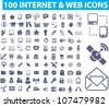 100 internet & web icons set, vector - stock vector