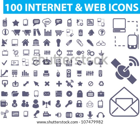 100 internet & web icons set, vector
