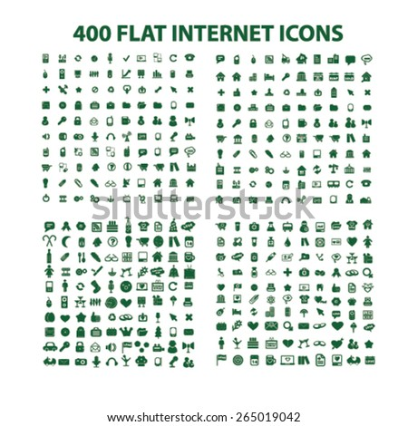 400 internet, website, office, business, media icons, signs, illustrations set, vector - stock vector