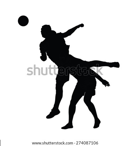 Isolated poses of soccer players in duel vector silhouettes on white background.  Very high quality detailed soccer football player silhouette cutout outlines. - stock vector