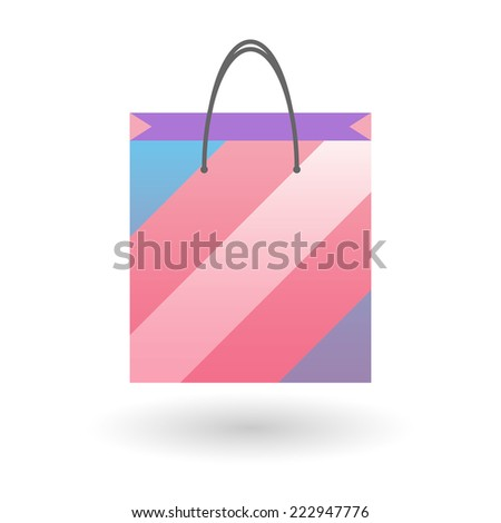Isolated shopping bag with a transgender pride flag