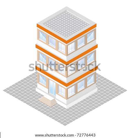 isometric projection of a three-storey building, isolated on white         - stock vector