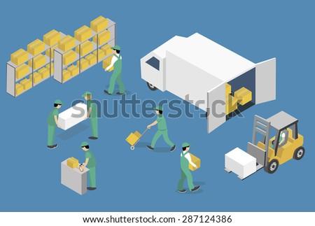 Isometric Vector Illustration warehouse equipment icon set - stock vector