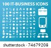 100 it-business icons, vector - stock photo