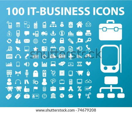 100 it-business icons, vector - stock vector