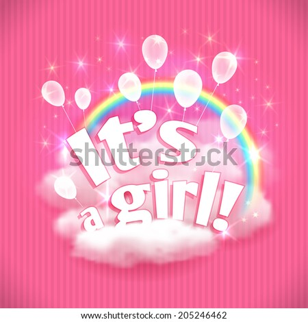 """It's a Girl!"" greeting card with balloons, clouds and rainbow. Vector illustration, eps10. - stock vector"