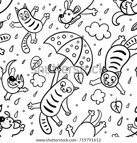 Raining cats and dogs coloring page coloring pages for Coloring pages cats and dogs