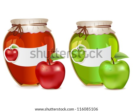 Jam jars with apples red and green and