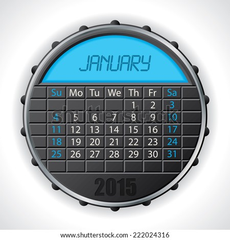 2015 january calendar design with color lcd display - stock vector