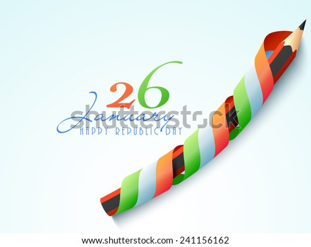 26 January, Happy Indian Republic Day celebration with pencil covered by national tricolor ribbon on sky blue background. - stock vector