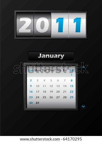 2011 january month counter calendar - stock vector